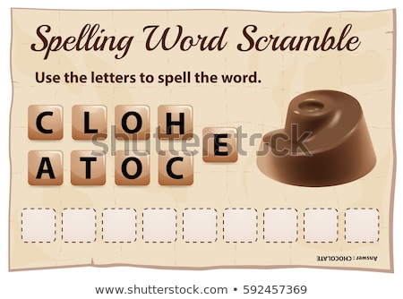 Spelling word scramble game with word chocolate Stock photo © colematt