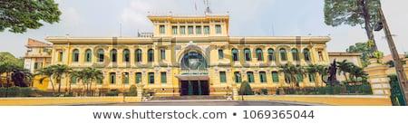Opschrift postkantoor centraal blauwe hemel Vietnam staal Stockfoto © galitskaya