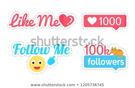 Follow Me Smiley and Like Stickers Set Vector Stock photo © robuart