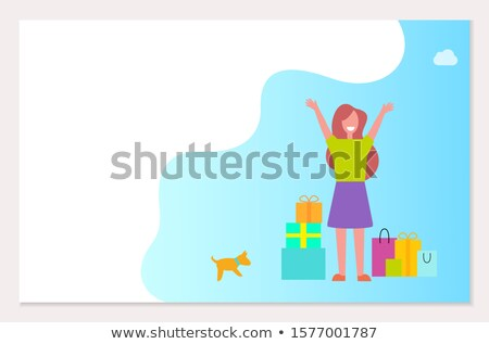 Shopping webpage template, happy woman, packages Stock photo © robuart