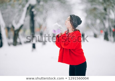 девушки весело снега ходьбы красный Сток-фото © Stasia04