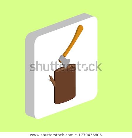 favágó · láncfűrész · tart · vektor · terv · illusztráció - stock fotó © netkov1