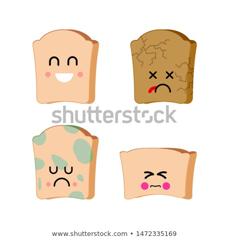 Piece of bread set of emoji. Sad bread with mold. Dry spoiled fo Stock photo © MaryValery