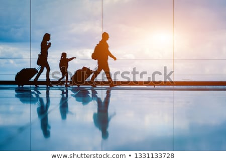 Groups of People Travelling Together With Luggage At The Airport Stock photo © solarseven