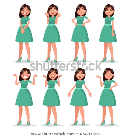Set of girl head with different facial expression Stock photo © colematt