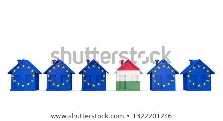 House with flag of hungary in a row of EU flags Stock photo © MikhailMishchenko