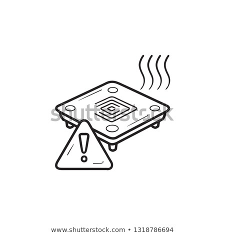 3D printer heated bed warning hand drawn outline doodle icon. Stock photo © RAStudio