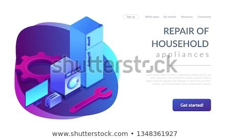 Repair of household appliances concept isometric 3D landing page. Stock photo © RAStudio