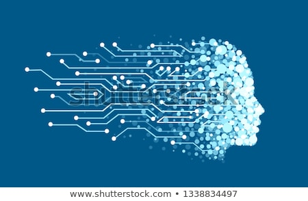Stock photo: digital technology face made with particles for artificial intel