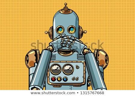robô · cabeça · isolado · cyborg · cara · metal - foto stock © studiostoks