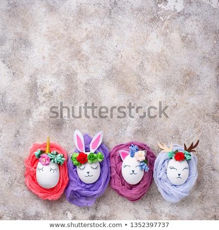 Foto stock: Huevos · de · Pascua · forma · vacaciones · gato · ciervos · Pascua