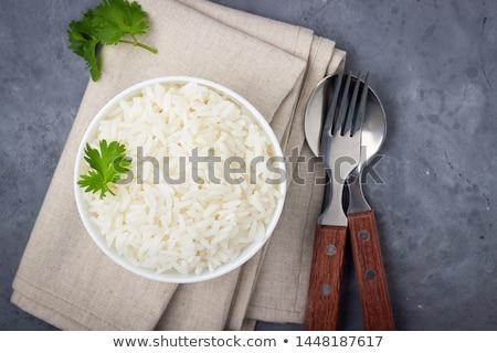 Gekookt rijst kom tabel keuken plaat Stockfoto © tycoon