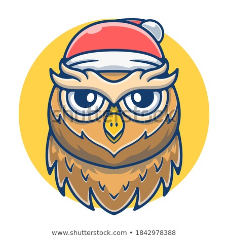 Merry Christmas Feathered Owl Vector Isolated Stock photo © robuart