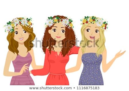 Tinilány Svédország fesztivál virág illusztráció tinilány Stock fotó © lenm