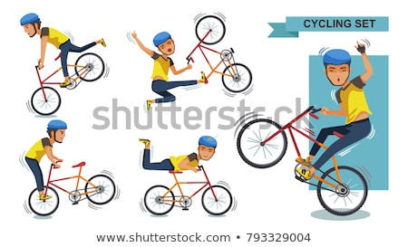 cyclists riding bicycles vector cartoon characters set stock photo © pikepicture