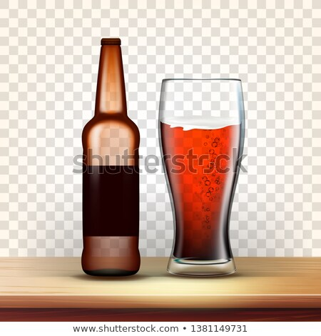 Realistic Bottle And Goblet With Dark Beer Vector Stock photo © pikepicture