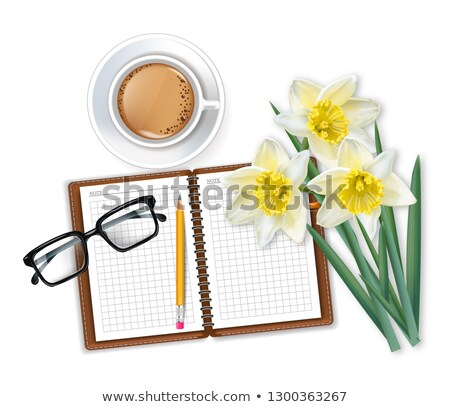 Morning coffee notepad and narcissus bouquet Vector realistic Stock photo © frimufilms