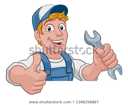 Mechanic Plumber Wrench Spanner Cartoon Handyman Stock photo © Krisdog