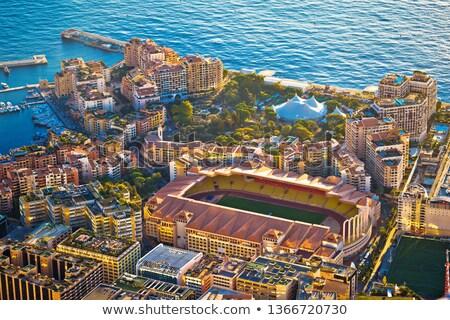 Fontvieille colorful waterfront and AS Monaco stadium aerial vie Stock photo © xbrchx