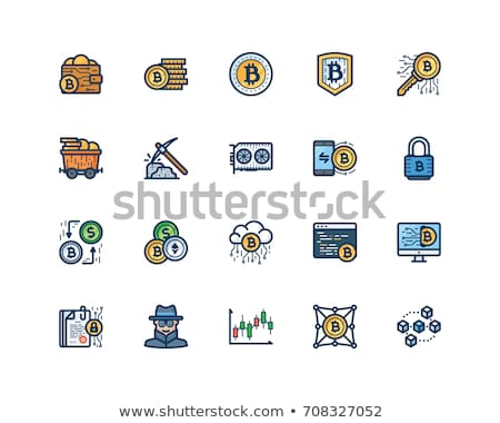 Stock photo: Bitcoin mining and cryptocurrency icons - coin, pickaxe, gold, m