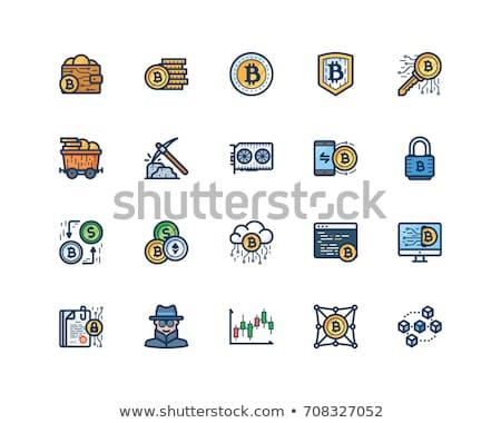 vektor · vonal · ikonok · vékony · skicc · bitcoin - stock fotó © winner