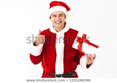 portret · vrolijk · man · 30s · kerstman · kostuum - stockfoto © deandrobot