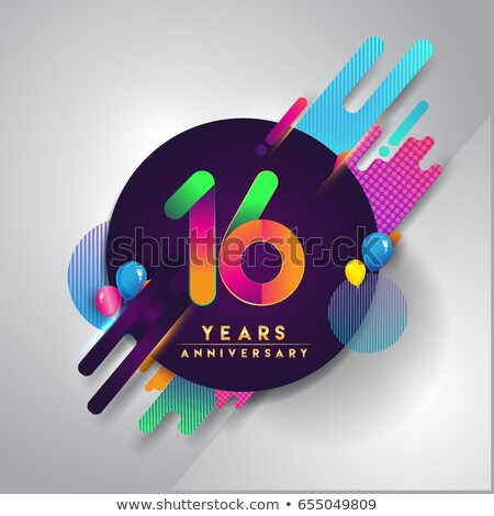 Sixteen Anniversary Celebration Number Vector Stock photo © pikepicture