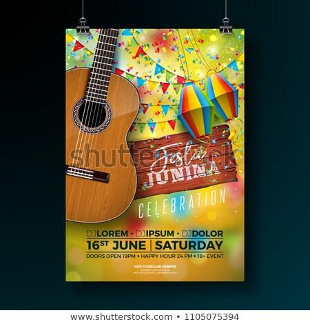 Festa Junina Guitar And Garlands Background Stock fotó © articular