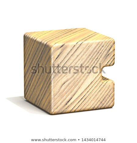 Solid wooden cube font Letter C 3D Stock photo © djmilic