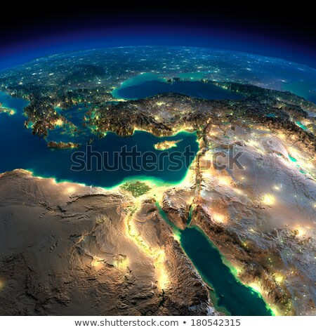 Detailed Earth at night. Africa and Middle East Stock photo © Antartis