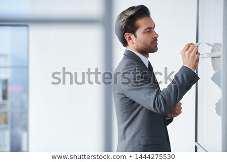Young elegant teacher writing down points of the subject Stock photo © pressmaster