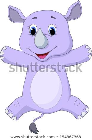 Feliz rinoceronte saltando alegria ilustração fundo Foto stock © bluering
