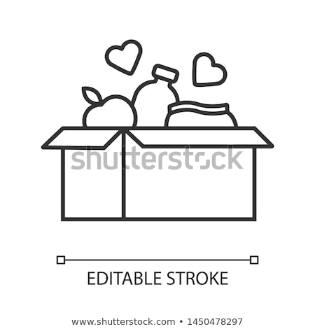 Stock photo: Volunteers Support Food Box Vector Thin Line Icon