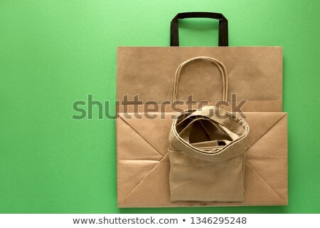 Set of textile, linen and paper eco bags set, no plastic package, pollution problem Stock photo © MarySan