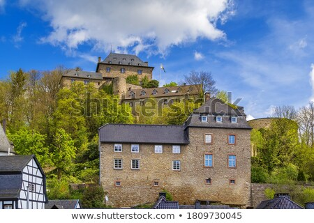 view of Monschau and castle from hill, Germany stock photo © borisb17
