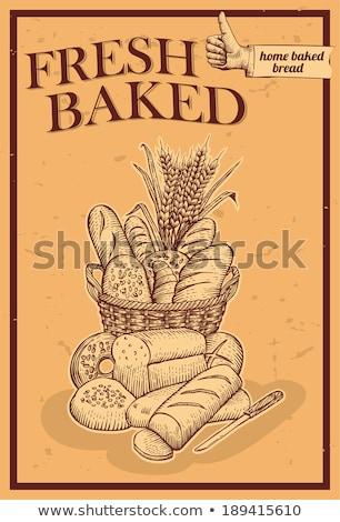 Baguettes bois panier vecteur boulangerie magasin Photo stock © robuart