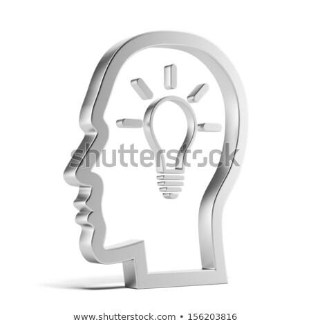 Lightbulb Idea Inside Head Silhouette Stock photo © AndreyPopov