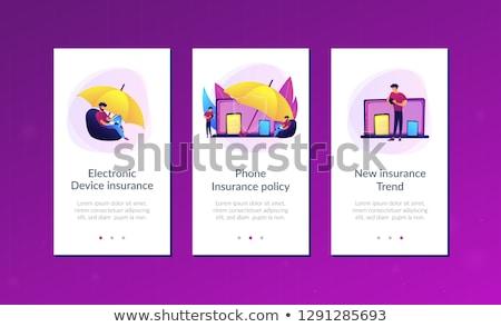 Elektronicznej urządzenie ubezpieczenia app interfejs szablon Zdjęcia stock © RAStudio