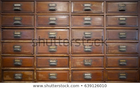 Home Metal File Cabinet Label Frame on Wood Stock photo © feverpitch