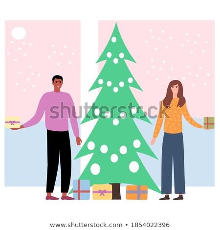 Females Giving Present Box near Fir-tree Vector Stock photo © robuart