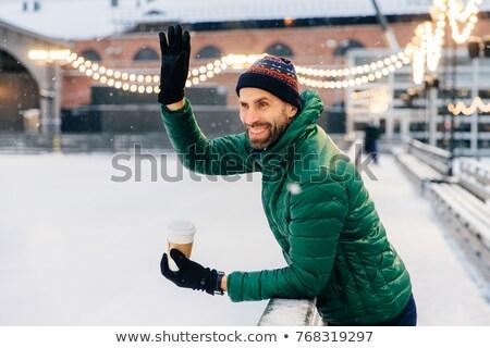 笑みを浮かべて あごひげを生やした 男性 ドリンク コーヒー 波 ストックフォト © vkstudio