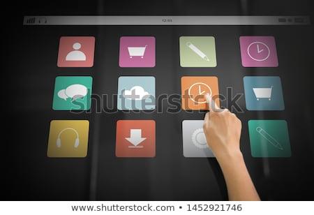 El siyah interaktif panel teknoloji insanlar Stok fotoğraf © dolgachov