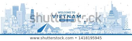 Skicc sziluett kék copy space üzlet turizmus Stock fotó © ShustrikS