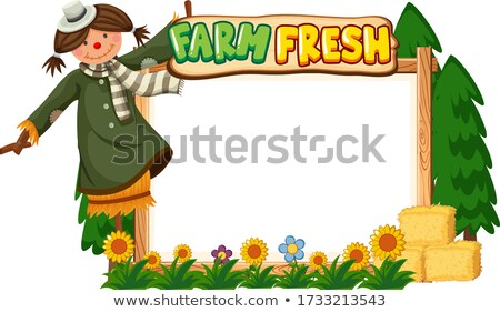 Border template design with scarecrow and flowers Stock photo © bluering