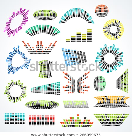 Vector music sound waves set. Audio digital equalizer technology, console panel, musical pulse. Mode Stock photo © designer_things