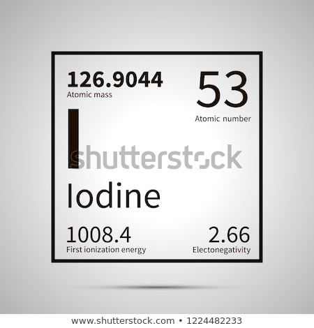 Iodine chemical element with first ionization energy, atomic mass and electronegativity values ,simp Stock photo © evgeny89