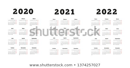 Set of A4 size vertical simple calendars in spanish at 2020, 2021, 2022 years isolated on white Stock photo © evgeny89