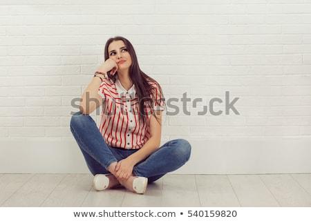 молодые · пустой · комнате · сидят · белье - Сток-фото © chocolatehouse