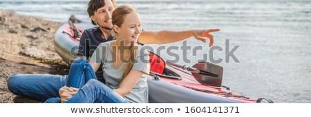 Homem mulher pronto caiaque mar ilha Foto stock © galitskaya