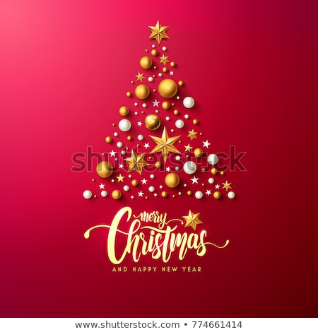 Glow Greeting Card with Christmas Tree, Gifts and Inscription. H Stock photo © lissantee